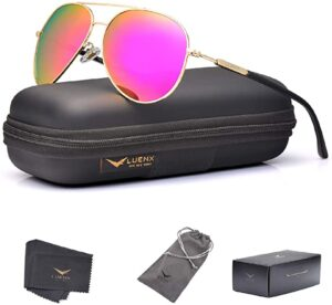 LUENX Aviator Sunglasses for Women Polarized Mirror with Case